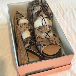 ERIC MICHAEL cobra snake sandal low heel wedge